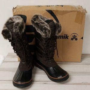 Kamik Brown/Black Faux Fur Snow Boots Size 11